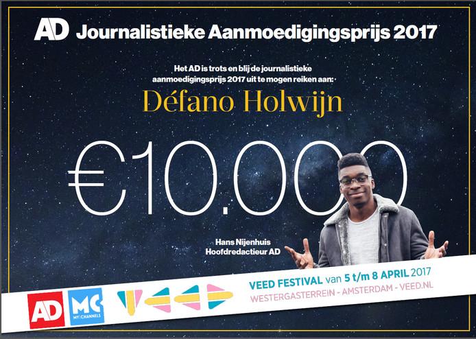 Défano Holwijn wint de AD Journalistieke Aanmoedigingsprijs 2017