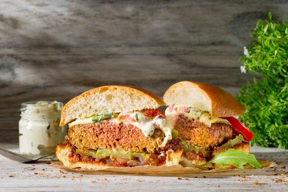 De Beyond Burger, volledig gemaakt van plantaardige ingrediënten.