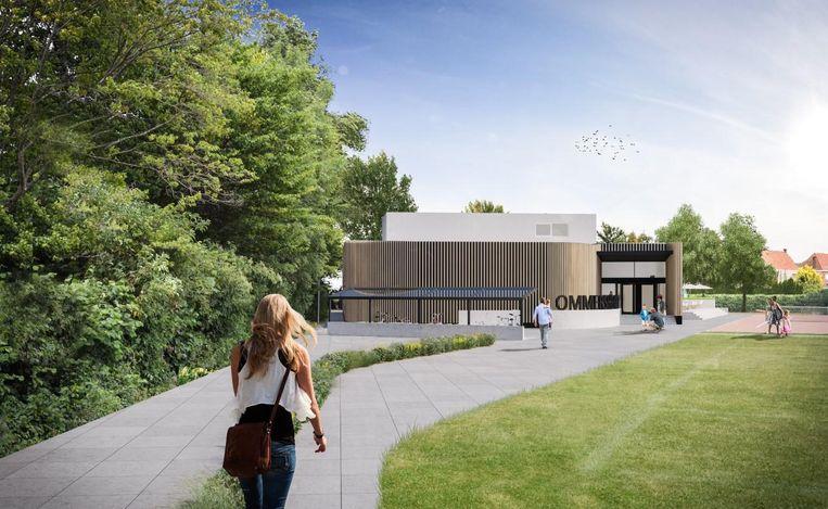 Een blik op het nieuwe zwembad op het Ommersheimplein in Vichte, dat hout aan de buitenkant krijgt.
