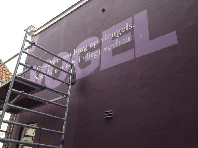 Muurschildering op de Clarastraat