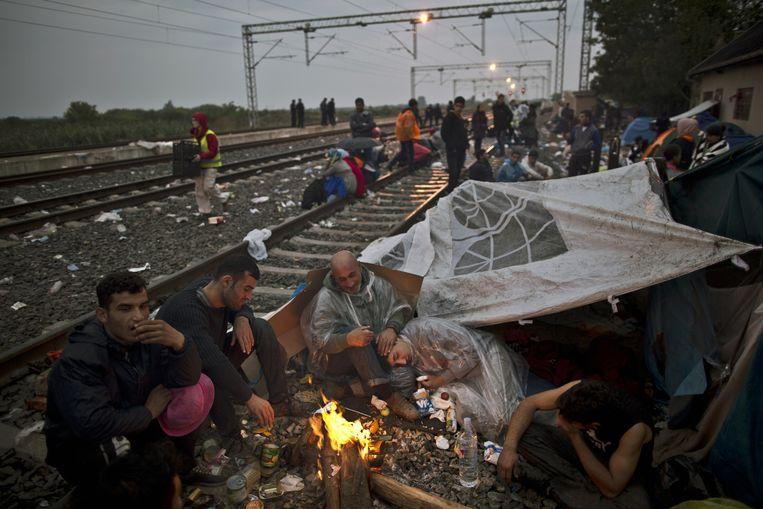 Irakese vluchtelingen schuilen bij een zelfgemaakt vuur in Kroatië. Beeld ap