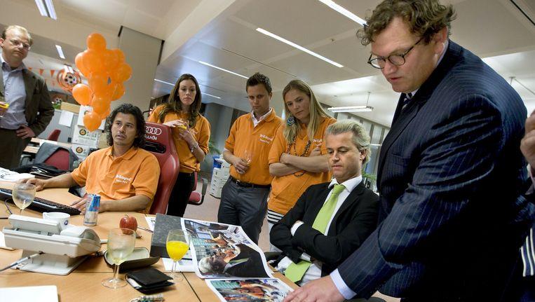 Geert Wilders op de redactie van de Telegraaf Beeld ANP