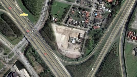 Het bedrijventerrein bij Wouwseweg in Roosendaal in de hoek tussen A17 en A58