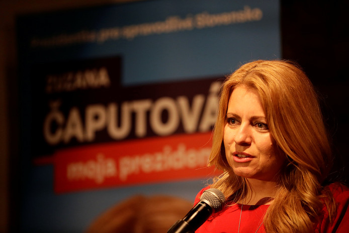Kandidaat Zuzana Caputova maakt kans om de eerste vrouwelijke president van Slowakije te worden.