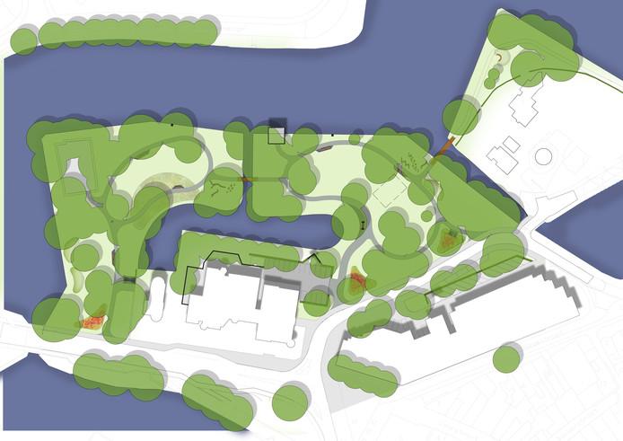 Kaart van het opgeknapte Westdampark in Woerden.
