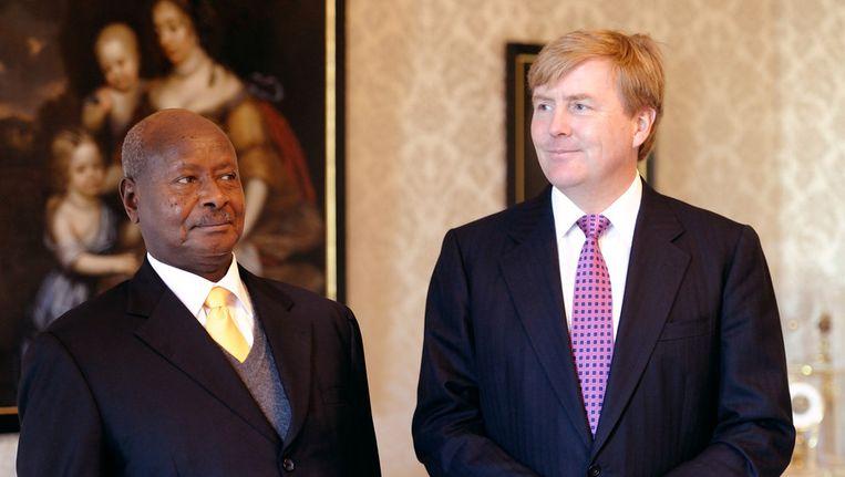 Koning Willem-Alexander ontvangt president Yoweri Kaguta Museveni van Oeganda in audientie op Paleis Huis ten Bosch Beeld ANP