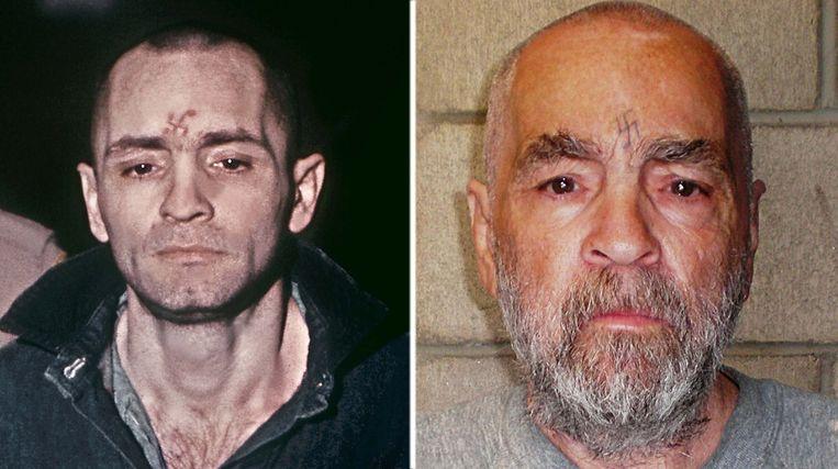 Charles Manson in 1971 (l) en in 2009 Beeld afp