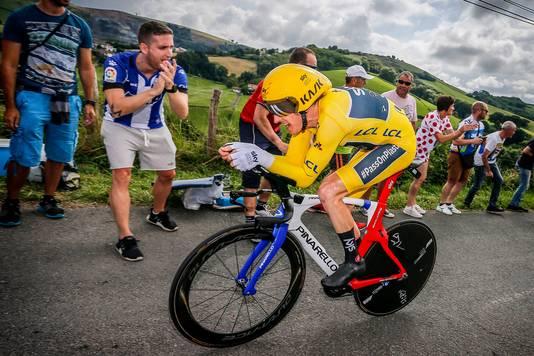 In de gele trui werd Geraint Thomas vorig jaar derde in de tijdrit van de Tour de France.