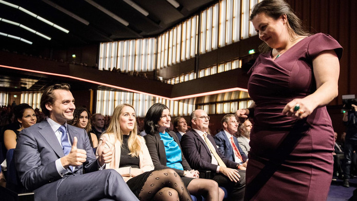 Forum voor Democratie-leider Annabel Nanninga en landelijk partijleider Thierry Baudet vorige week op het partijcongres in de RAI.