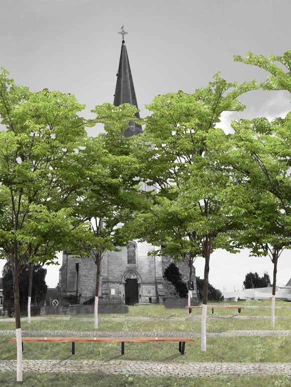 Een beeld van hoe het centrum van Itterbeek er moet gaan uitzien.