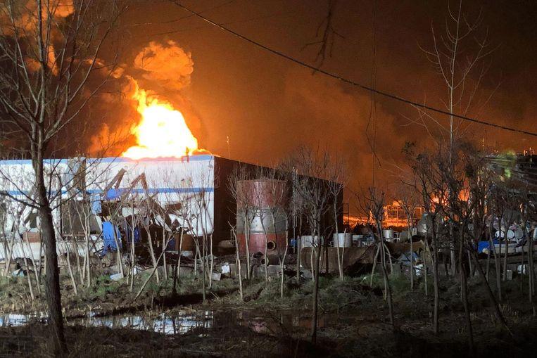 Archieffoto van de zware brand in Jiangsu in maart van dit jaar.