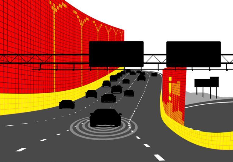 Camera's herkennen verkeersborden en lezen de opschriften: aanwijzingen voor de locatie en de richting waarin gereden wordt.  Beeld RV