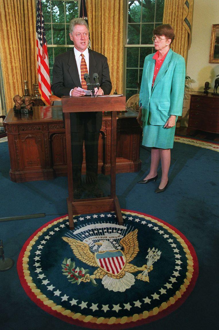 Janet Reno was tijdens het presidentschap van Bill Clinton (1993-2001) de eerste vrouwelijke minister van Justitie van de VS.