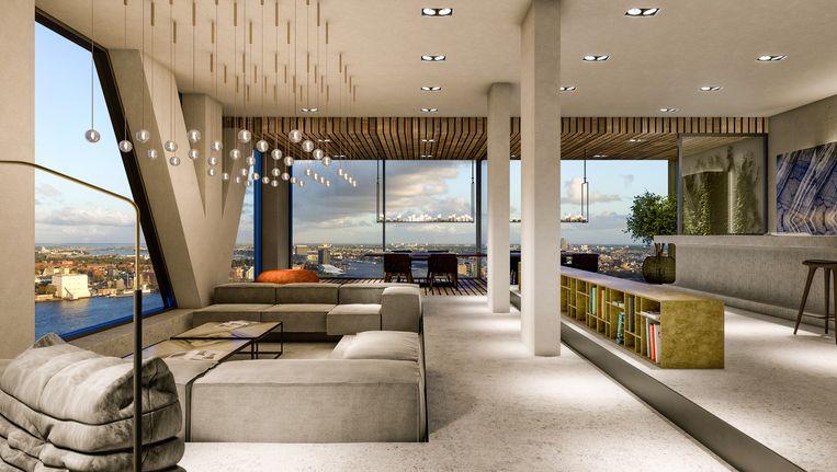 Impressie van het penthouse van 1440 vierkante meter in het nog te bouwen pand Pontsteiger in de Houthavens Beeld Christie's