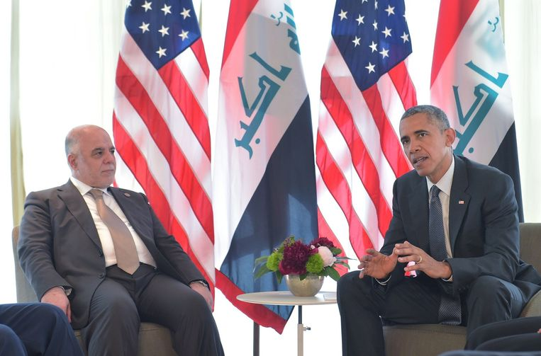Barack Obama in gesprek met de premier van Irak Haider Al-Abadi. Beeld null