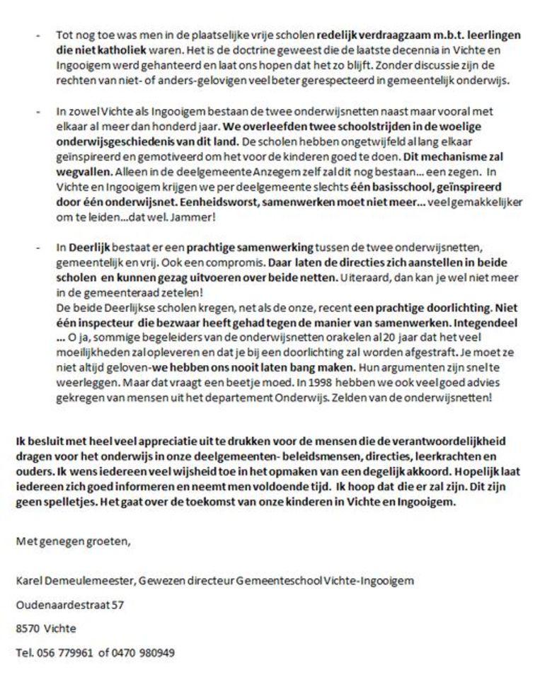 De brief van Karel Demeulemeester, deel 2
