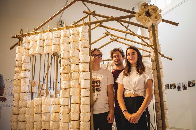 Het huis, gemaakt van gerecycleerde wc-rollen, zwammen en bamboe, is te bewonderen in het Design Museum.
