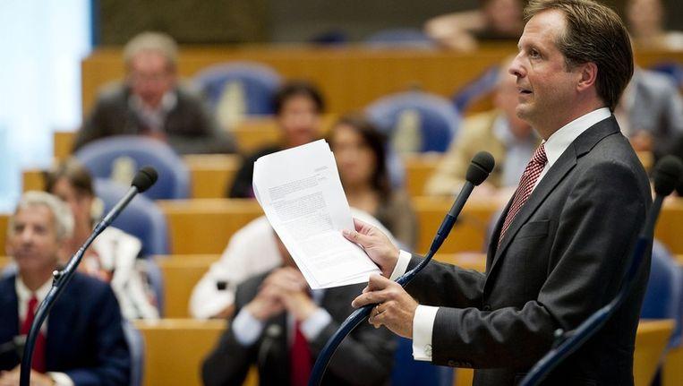 D66-leider Alexander Pechtold tijdens een debat over de hulp aan Griekenland. Beeld epa