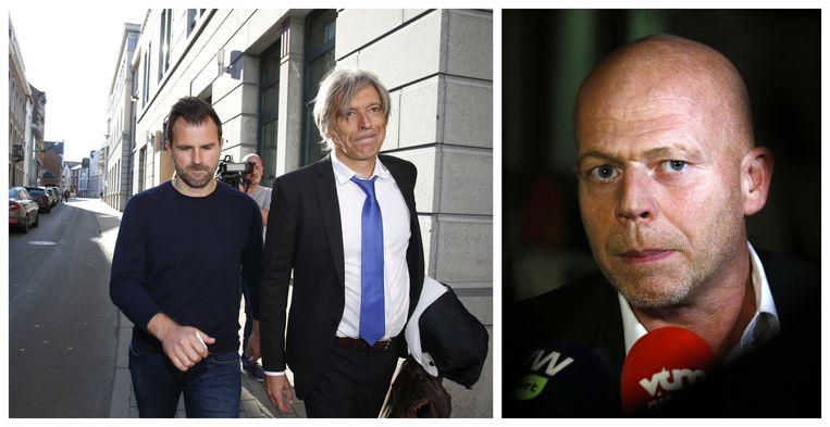 Advocaat Walter Van Steenbrugge met Club Brugge-trainer Ivan Leko (L) en advocaat Sven Mary (R).