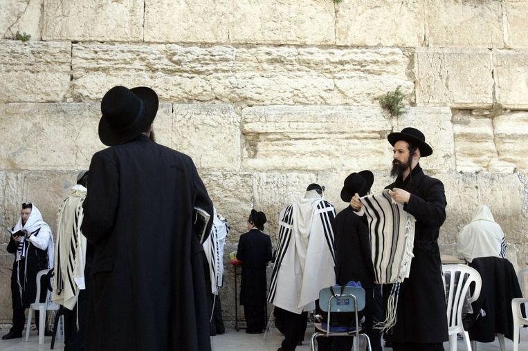 Joodse, orthodoxe mannen met een een gebedskleed, ook wel talliet genoemd. Beeld epa
