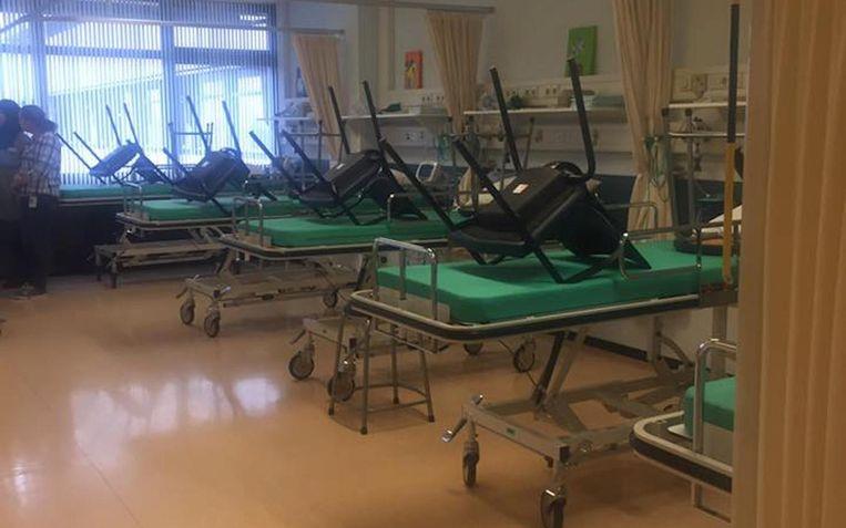De ziekenhuisbedden van het lege Slotervaartziekenhuis Beeld Ches Rijpkema