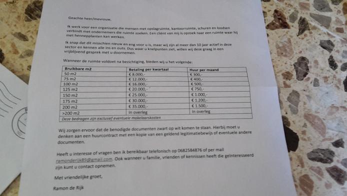 De bewuste brief die boer in Giessenburg kreeg.