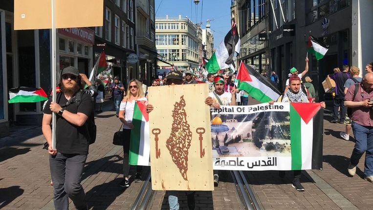 De pro-Palestina demonstratie van afgelopen dinsdag. Beeld Rick Plantinga