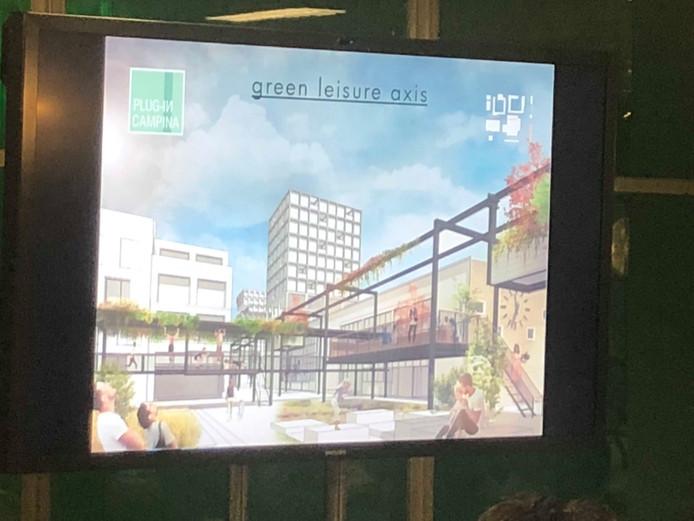 Een beeld uit de presentatie van het team Plug-In-City voor de ontwerpwedstrijd Circulair Campina van BPD in Eindhoven.