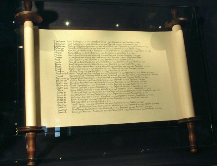 Op de gedenkrol staan alle namen van in de Tweede Wereldoorlog vermoorde joodse Amersfoorters. Nu komt er een gedigitaliseerde versie.