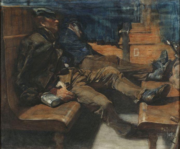Slapende arbeiders in treincoupé, aquarel, 44,75 x 54,25 cm (uit collectie Museum Helmond).