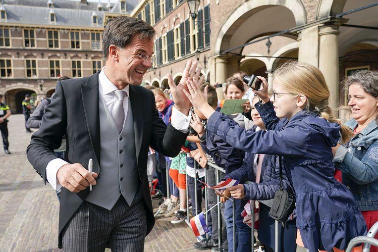 Premier Mark Rutte arriveert bij de Ridderzaal op Prinsjesdag.