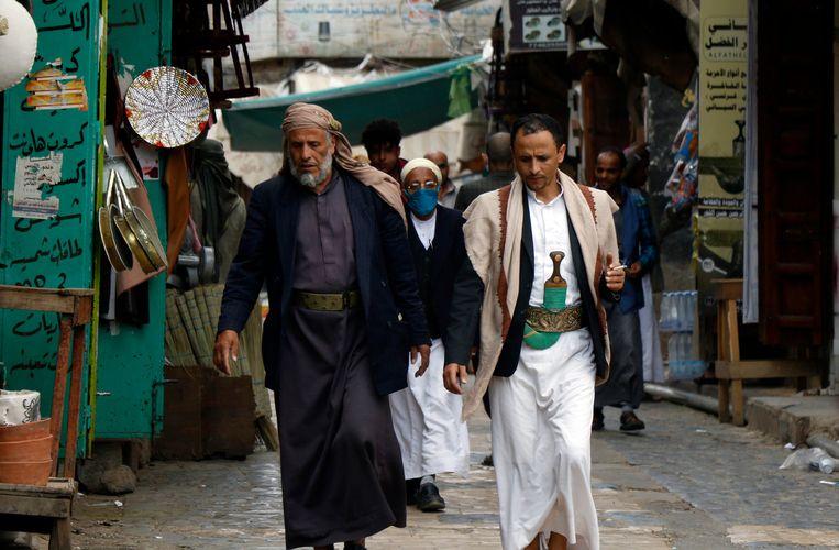 Een markt in Sanaa, de hoofdstad van Jemen, afgelopen zondag. Beeld Getty Images