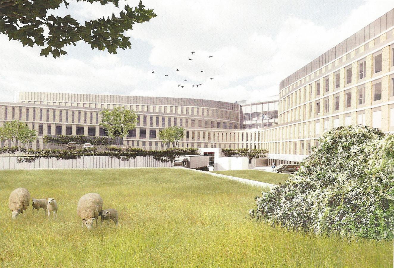 Tekening van de nieuwbouw van het Slingeland-ziekenhuis.