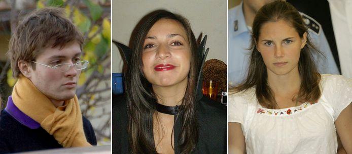 De Italiaanse ex-vriend van Amanda Knox, Raffaele Sollecito, haar vermoorde huisgenote Meredith Kercher en Amanda Knox zelf in 2008.