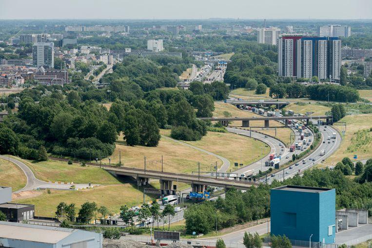 De Antwerpse ring aan de Kennedytunnel.