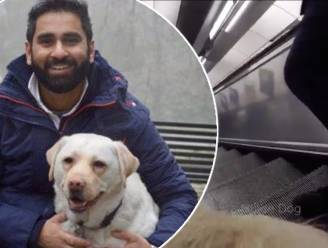 VIDEO: Pendelaar boos omdat blinde met geleidehond niet opzij gaat op roltrap