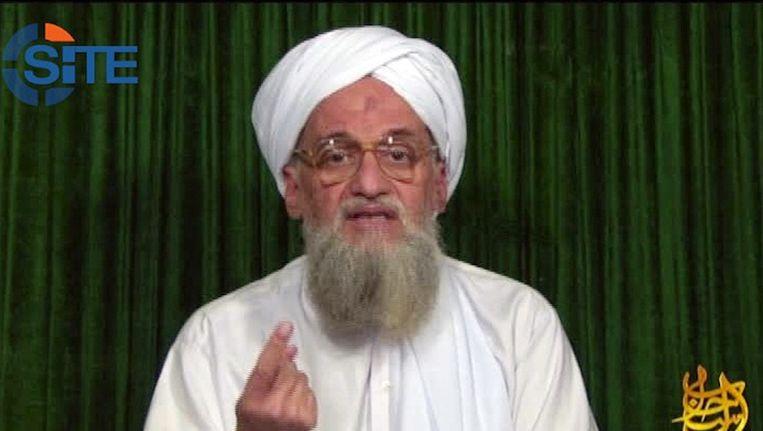 Ayman al-Zawahiri, de leider van Al Qaida tijdens een toespraak op een onbekende locatie.