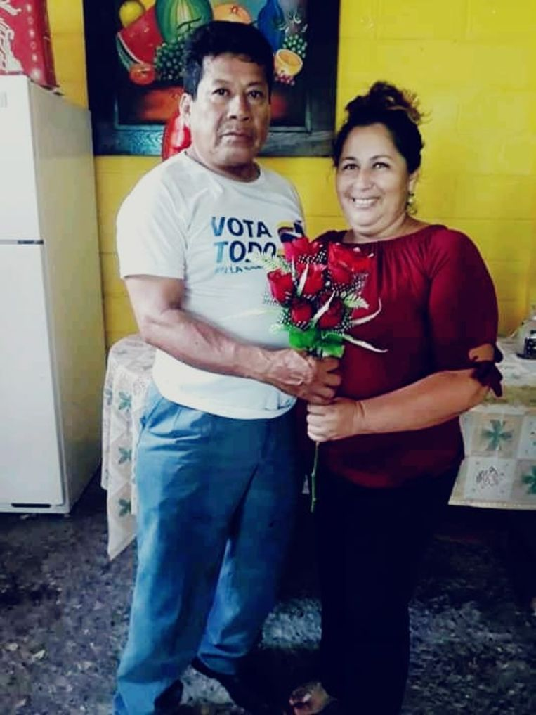 Marta Soledad Lituma met haar man Adriano Beeld Marta Soledad Lituma