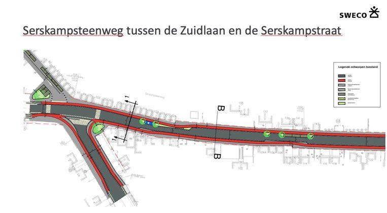 De Serskampsteenweg richting Serskamp krijgt voet- en fietspaden.
