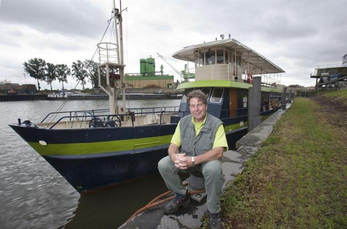 Arie Klaassen, beheerder van de boot bij de Blauwe Bever.
