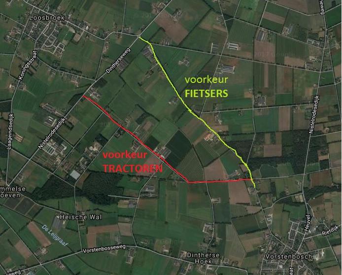 De voorkeursroutes tussen (linksboven) Loosbroek en (rechtsonder) Vorstenbosch.
