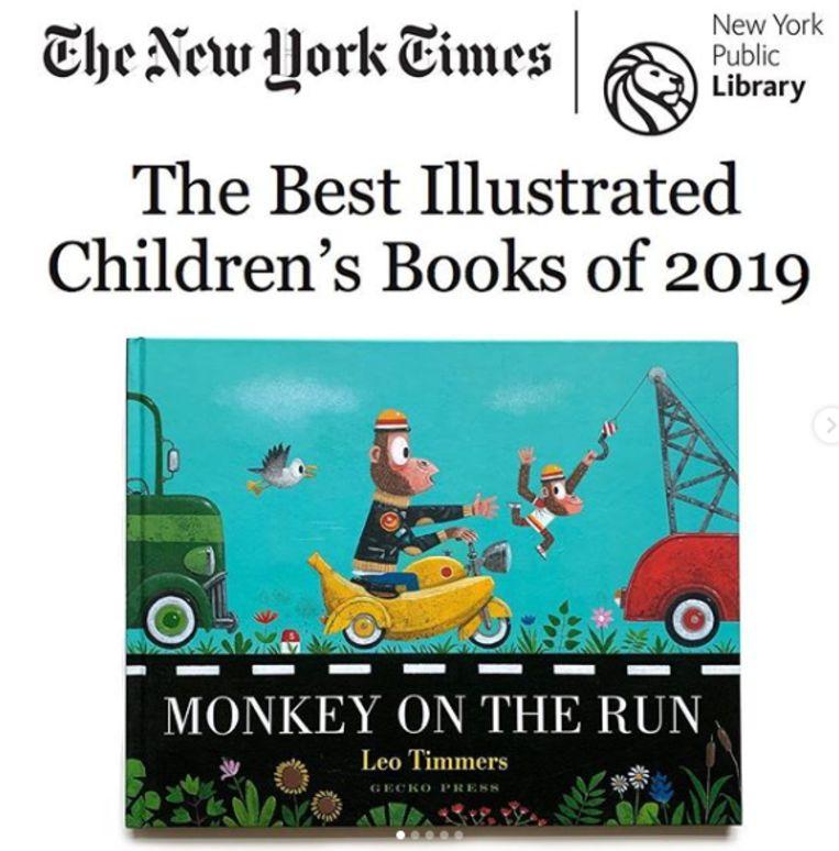 De Engelse versie van het Vlaamse kinderboek 'Aap op straat' van Leo Timmers (49) is door The New York Times verkozen tot een van de tien beste kinderboeken van 2019.