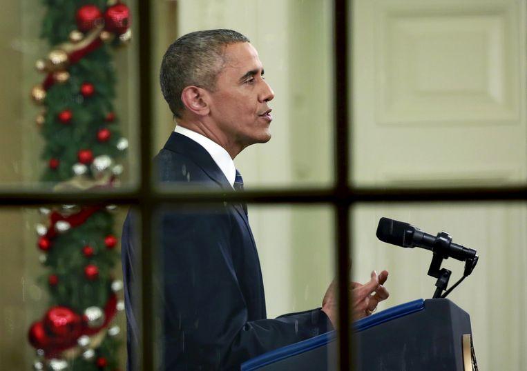 De Amerikaanse president Barack Obama tijdens zijn toespraak in de Oval Office in het Witte Huis. Beeld REUTERS