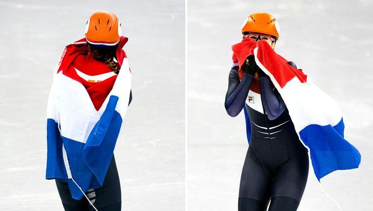 Suzanne Schulting blijft donderdag vol ongeloof rondjes rijden na haar winst op de 1.000 meter. Beeld Klaas Jan van der Weij / de Volkskrant