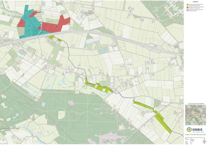 Het overzicht van het plan voor natuurgebied Wouwervallei tussen Breda en Gilze.
