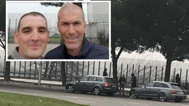 Op het groot beeld een foto van kort na de botsing. Inzet: de selfie waarvan sprake in het artikel.
