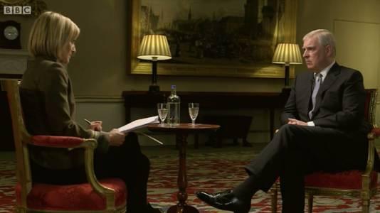 Prince Andrew tijdens het rampzalig uitgepakte BBC-interview.
