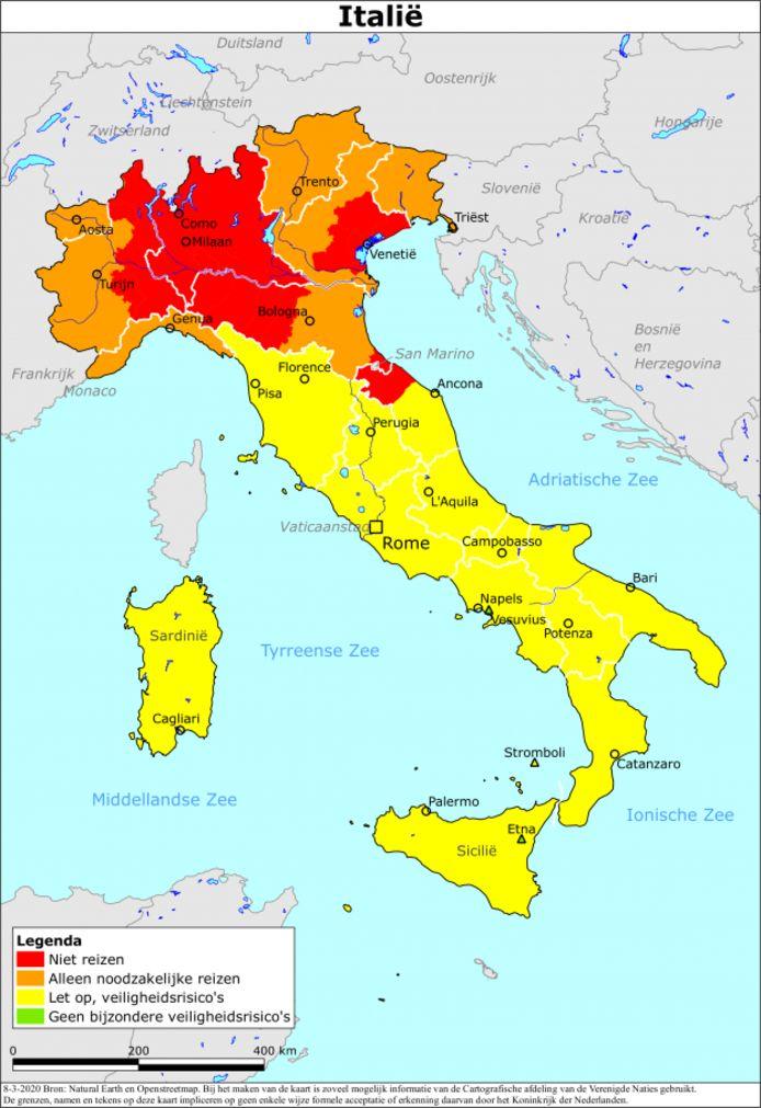 Een voorbeeld van een reisadvies met kleurcodes. Dit reisadvies voor Italië van begin maart, laat zien dat het coronavirus toen in het noorden van het land rondwaarde. Inmiddels geldt voor heel het land en de rest van de wereld een 'oranje' reisadvies.