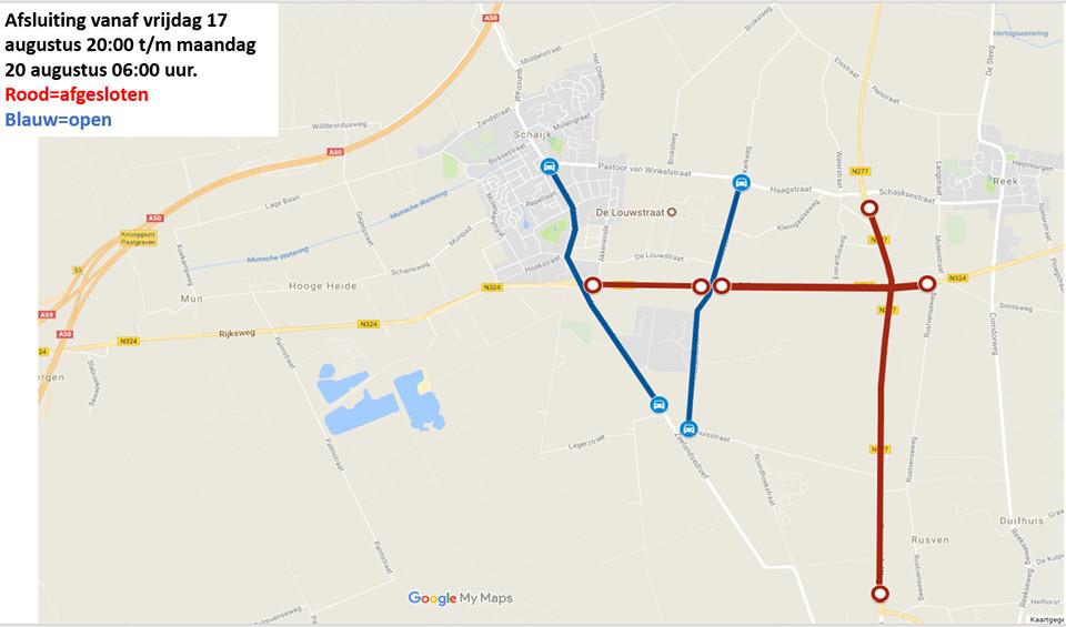 In rood aangegeven de weggedeelten die komend weekeinde dicht gaan.