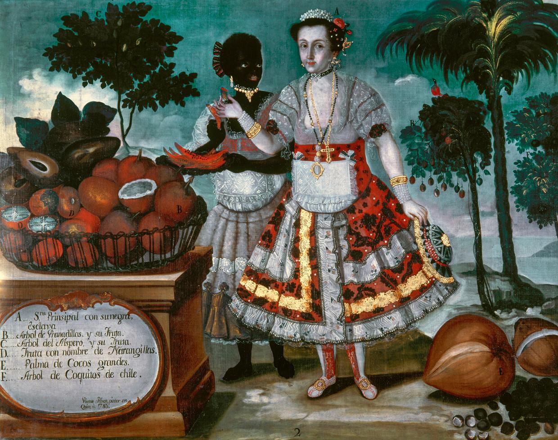 Rijke Spaanse koloniste met slavin, een schilderij van Vicente Alban uit de collectie van het Museo de las Américas in Madrid. Beeld Universal Images Group via Getty